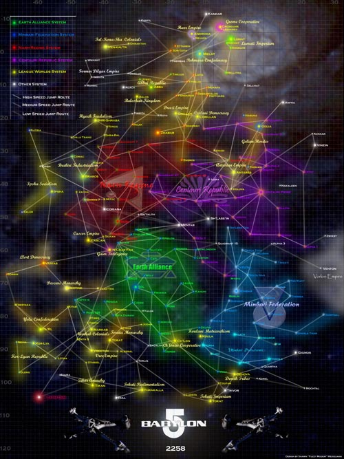 Map of Babylon 5 Galaxy
